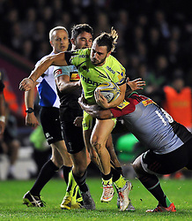 Tom Arscott of Sale Sharks takes on the Harlequins defence - Mandatory byline: Patrick Khachfe/JMP - 07966 386802 - 06/11/2015 - RUGBY UNION - The Twickenham Stoop - London, England - Harlequins v Sale Sharks - Aviva Premiership.