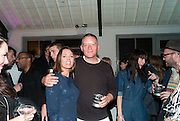 DAISY BEAUMONT; GILES DEACON, Giles Deacon after-show party. Elm lester painting rooms. Leicester Sq. London. 19 September 2011. <br /> <br />  , -DO NOT ARCHIVE-© Copyright Photograph by Dafydd Jones. 248 Clapham Rd. London SW9 0PZ. Tel 0207 820 0771. www.dafjones.com.