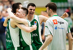 Ziga Fifolt of Krka, Domen Bratoz of Krka, Jure Balazic of Krka celebrate after winning during basketball match between KK Krka and KK Petrol Olimpija in 22nd Round of ABA League 2018/19, on March 17, 2019, in Arena Leon Stukelj, Novo mesto, Slovenia. Photo by Vid Ponikvar / Sportida