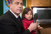 FRANCE, Boulogne: 14 January 2016.<br /> Ex-serviceman Rob Lawrie, 49, speaks at a press  conference this morning with Bahar, 4, before his court appearance later this afternoon. Aid-worker Lawrie says he will plead guilty after being caught by French officers attempting to smuggle four-year-old Bahar into the UK as he was trying to reunite her with her father in Leeds. <br /> Rick Findler / Story Picture Agency