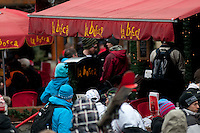 Fans of Norway wear their country's colors in the village during the 2010 Olympic Winter Games in Whistler, BC Canada.