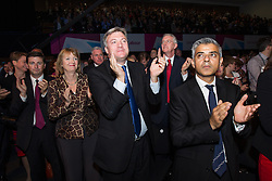 © Licensed to London News Pictures . 24/09/2013 . Brighton , UK . Yvette Cooper , Douglas Alexander , Tessa Jowell , Ed Balls , Hilary Benn , and Sadiq Khan applaud after Ed Miliband delivers the Leader's Speech to the Labour Party conference , this afternoon (24th September 2013) . Day 3 of the Labour Party Conference in Brighton . Photo credit : Joel Goodman/LNP