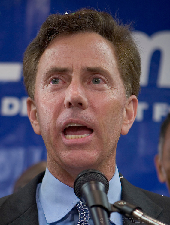 MERIDEN, CT - AUGUST 8: Ned Lamont talks to supporters August 8, 2006 in Meriden, Connecticut after winning the Democratic U.S. Senate primary. Lamont, a Greenwich businessman, was in a tight race with U.S. Sen. Joseph Lieberman (D-CT) for the Democratic nomination. (Photo by Bob Falcetti/Getty Images)