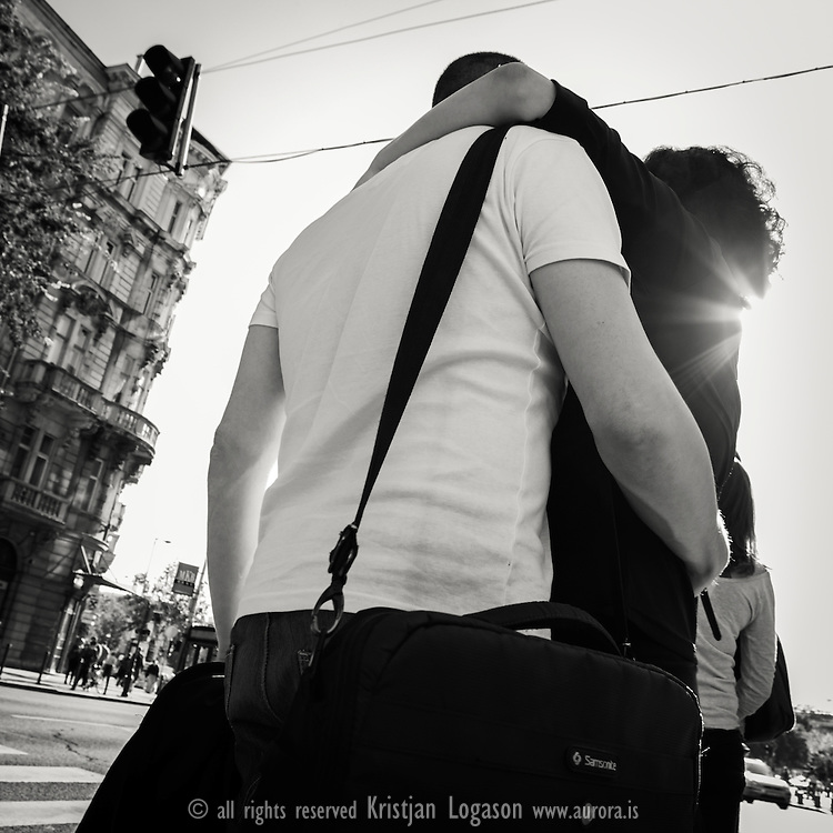 Romantic couple in the streets of Budapest Hungary