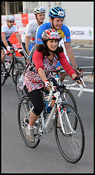 The Mayor of London Boris Johnson's wife Marina sets off from the Olympic Park on his Ride London, a 100 mile cycle ride, London, United Kingdom<br /> Sunday, 4th August 2013<br /> Picture by Andrew Parsons / i-Images