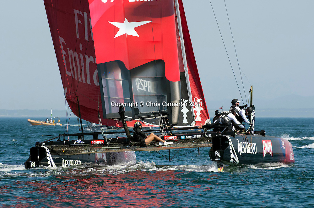 Emirates Team New Zealand. in race one on day three of the first America's Cup World Series event. 10/8/2011