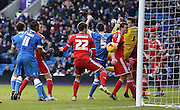 Brighton's Lewis Dunk scores during the Sky Bet Championship match between Brighton and Hove Albion and Nottingham Forest at the American Express Community Stadium, Brighton and Hove, England on 7 February 2015. Photo by Phil Duncan.