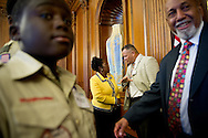 XAVIER MASCARENAS/TREASURE COAST NEWSPAPERS<br /> <br /> A partially depleted Boy Scout Troop 772, some feeling the effects of a busy schedule in Washington D.C., briefly visits with South Florida Rep. Alcee Hastings in the Rayburn Room at the Capitol on Wednesday, July 23, 2014.