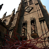 Trinity Church with root sculpture