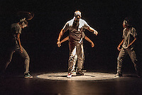 Stratford Circus, Stratford, London, UK, 13th April 2013. Performance of A Single Candle Defies And Defines The Dark choreographed by Duwane Taylor, by Buckness Personified. Dancers Sannchia Gaston, Claire Hough, Duwane Taylor and Helen Tmaskova. Presenting 'true krump' to the masses in an alternative way to that expected. They were semi finalists on Sky1's Got To Dance 2013. Tonight's piece was created under the direction of Jonzi D and ANthony Ekundayo Lennon as part of Breakin' Convention's Open Art Surgery 2013. Credit: CAROLE EDRICH/Alamy Live News