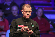 Barry Hawkins concentrating during the Ladbrokes World Grand Prix at Preston Guildhall, Preston, United Kingdom on 12 February 2017. Photo by Pete Burns.