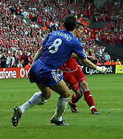 Photo: Paul Thomas.<br /> Liverpool v Chelsea. UEFA Champions League. Semi Final, 2nd Leg. 01/05/2007.<br /> <br /> Daniel Agger of Liverpool scores past Frank Lampard (8).