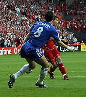 Photo: Paul Thomas.<br /> Liverpool v Chelsea. UEFA Champions League. Semi Final, 2nd Leg. 01/05/2007.<br /> <br /> Daniel Agger of Liverpool scores past Frank Lampard (8).