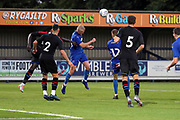 AFC Wimbledon defender Archie Procter (35) battles for possession during the Pre-Season Friendly match between AFC Wimbledon and Crystal Palace at the Cherry Red Records Stadium, Kingston, England on 30 July 2019.