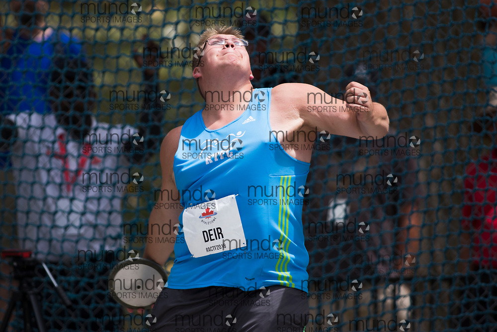 OTTAWA, ON -- 06 July 2018: Zachary Deir throwing in the U20 discus at the 2018 Athletics Canada National Track and Field Championships held at the Terry Fox Athletics Facility in Ottawa, Canada. (Photo by Sean Burges / Mundo Sport Images).