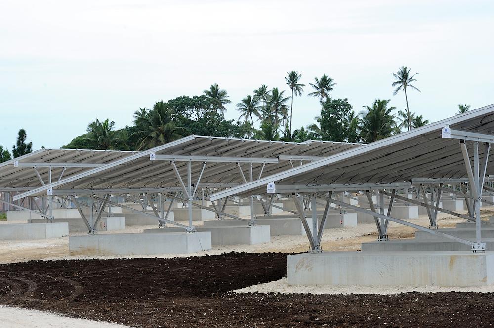 Solar Panels at the Maama Mai Solar Generation Facility, Pacific Mission 2012, Nuku'alofa, Tonga, Tuesday, July 24, 2012. Credit:SNPA / Ross Setford