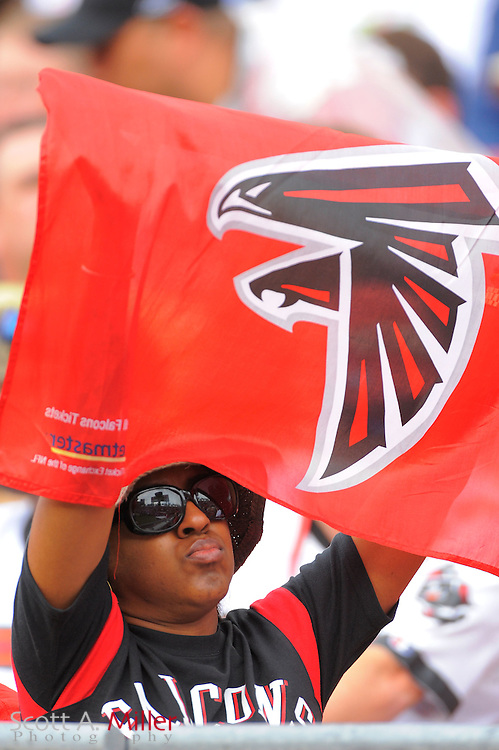 An African-American fans shows her support for the Atlanta Falcons during the Falcons game against the Tampa Bay Buccaneers at Raymond James Stadium on Sept. 25, 2011 in Tampa, FL...©2011 Scott A. Miller