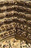 Paris. Last Judgment Portal (Center West Portal) Notre dame cathedral main front side; gargoyls and sculpturs  Paris  France