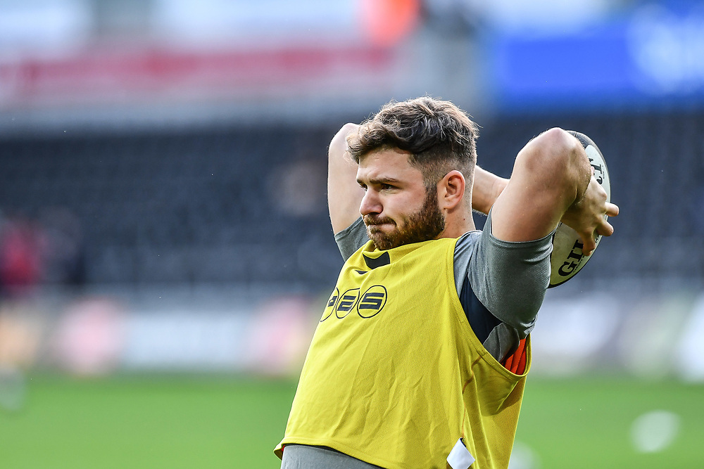 Cardiff Blues' Kirby Myhill during the pre match warm up<br /> <br /> Photographer Craig Thomas/Replay Images<br /> <br /> Guinness PRO14 Round 13 - Ospreys v Cardiff Blues - Saturday 6th January 2018 - Liberty Stadium - Swansea<br /> <br /> World Copyright © Replay Images . All rights reserved. info@replayimages.co.uk - http://replayimages.co.uk
