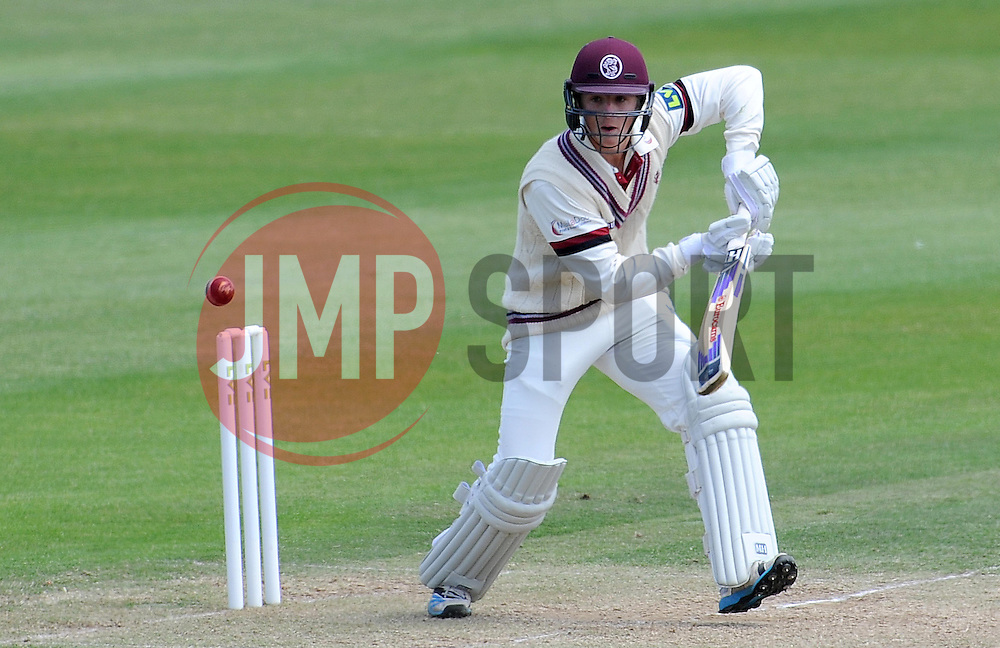 Somerset's Tom Abell drives the ball. - Photo mandatory by-line: Harry Trump/JMP - Mobile: 07966 386802 - 15/06/15 - SPORT - CRICKET - LVCC County Championship - Division One - Day Two - Somerset v Nottinghamshire - The County Ground, Taunton, England.