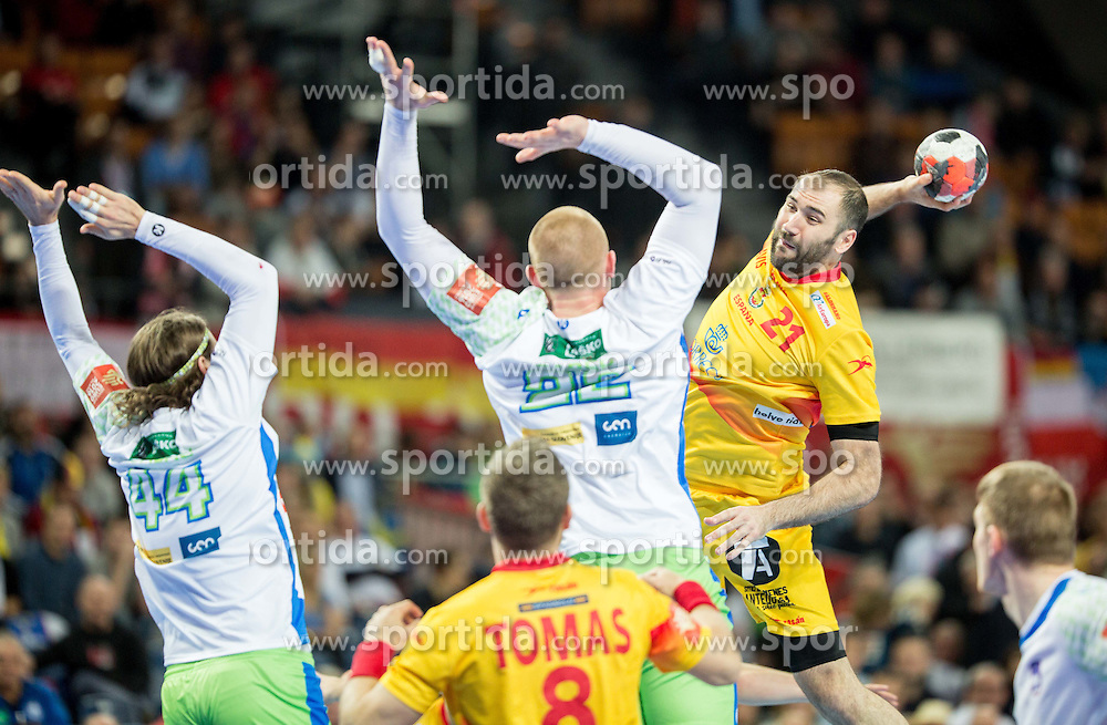 Dean Bombac of Slovenia and Matej Gaber of Slovenia vs Joan Canellas of Spain during handball match between National teams of Slovenia and Spain on Day 4 in Preliminary Round of Men's EHF EURO 2016, on January 18, 2016 in Centennial Hall, Wroclaw, Poland. Photo by Vid Ponikvar / Sportida