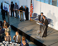 Garden City, New York, U.S. June 6, 2019. On stage are (at lecturn) MARC MACDONNELL, Chair, Board of Directors of Cradle of Aviation, and next to him, MICHAEL STROMER, JetBlue Chief Product Officer, Techology; as seen from second level of atrium of CAM, during Apollo at 50 Anniversary Dinner, an Apollo astronaut tribute celebrating the Apollo 11 mission Moon landing.