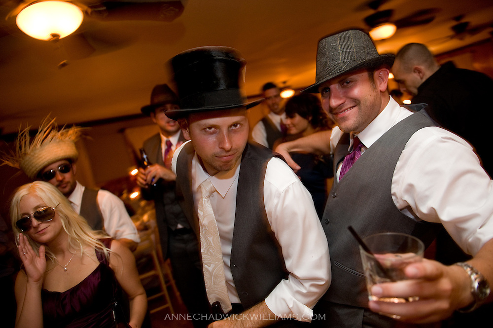 A groom dances at his weddding at Forest House Lodge in Foresthill, CA.