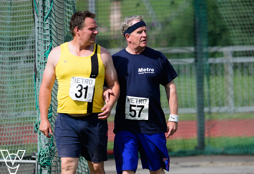 Metro Blind Sport's 2017 Athletics Open held at Mile End Stadium.  Discus.  Jonathan Ward, left, and Mike Brace<br /> <br /> Picture: Chris Vaughan Photography for Metro Blind Sport<br /> Date: June 17, 2017