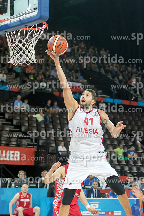 06.09.2015, Park Suites Arena, Montpellier, FRA, Russland vs Polen, Gruppe A, im Bild NIKITA KURBANOV (41) // during the FIBA Eurobasket 2015, group A match between Russia and Poland at the Park Suites Arena in Montpellier, France on 2015/09/06. EXPA Pictures &copy; 2015, PhotoCredit: EXPA/ Newspix/ Pawel Pietranik<br /> <br /> *****ATTENTION - for AUT, SLO, CRO, SRB, BIH, MAZ, TUR, SUI, SWE only*****