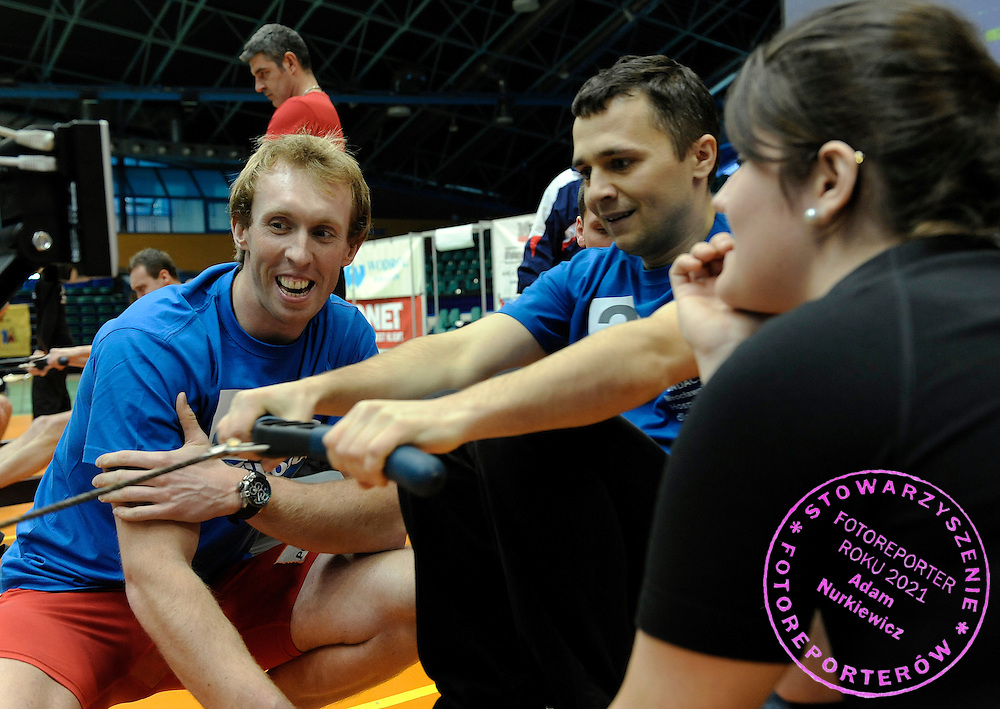 KONRAD WASIELEWSKI AND HIS TEAM DURING 20TH POLISH CHAMPIONSHIPS IN ROWING ERGOMETER AT ORBITA HALL IN WROCLAW, POLAND...WROCLAW , POLAND , JANUARY 29, 2011..( PHOTO BY ADAM NURKIEWICZ / MEDIASPORT )