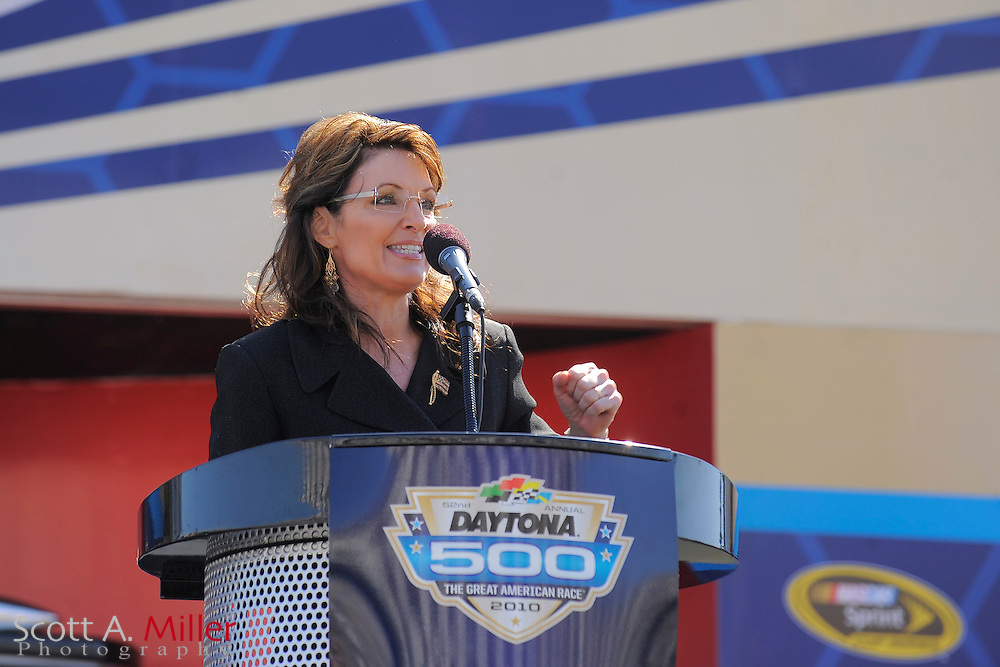 Daytona Beach, FL, USA; Former Alska Govenor and republican vice presidential canadidate SARAH PALIN gives a brief speech prior to the Daytona 500 at Daytona International Speedway on Feb. 14, 2010..©2010 Scott A. Miller