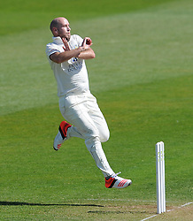 Durham's Chris Rushworth - Photo mandatory by-line: Harry Trump/JMP - Mobile: 07966 386802 - 14/04/15 - SPORT - CRICKET - LVCC County Championship - Day 3 - Somerset v Durham - The County Ground, Taunton, England.