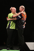 Michael van Gerwen and Raymond van Barneveld at Betway Premier League Darts Play Off Final at the O2 Arena, London, United Kingdom on 21 May 2015. Photo by Ricky Swift.