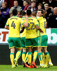 Norwich City celebrate Cameron Jerome's goal to put them 1-2 ahead at Newcastle United - Mandatory by-line: Robbie Stephenson/JMP - 28/09/2016 - FOOTBALL - St James Park - Newcastle upon Tyne, England - Newcastle United v Norwich City - Sky Bet Championship