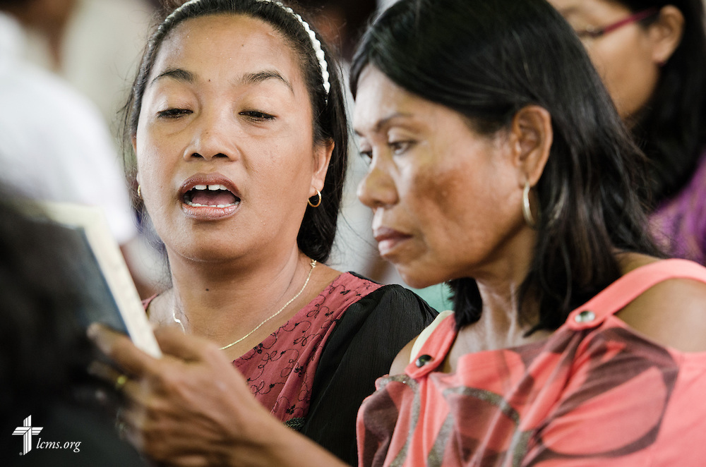 Members sing hymns during worship at Christ Lutheran Church in Mahayag, Leyte Province, Philippines, on Sunday, March 16, 2014. LCMS Communications/Erik M. Lunsford