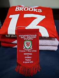 TBILSI, GEORGIA - Friday, October 6, 2017: The shirt of Wales' David Brooks laid out in the dressing room before the 2018 FIFA World Cup Qualifying Group D match between Georgia and Wales at the Boris Paichadze Dinamo Arena. (Pic by David Rawcliffe/Propaganda)