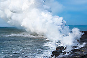 Steam cloud at the Kamokuna lava flow ocean entry, Hawaii Volcanoes National Park, The Big Island, Hawaii USA