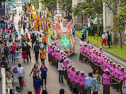"14 JANUARY 2015 - BANGKOK, THAILAND:  The 2015 Discover Thainess parade. The Tourism Authority of Thailand (TAT) sponsored the opening ceremony of the ""2015 Discover Thainess"" Campaign with a 3.5-kilometre parade through central Bangkok. The parade featured cultural shows from several parts of Thailand. Part of the ""2015 Discover Thainess"" campaign is a showcase of Thailand's culture and natural heritage and is divided into five categories that match the major regions of Thailand – Central Region, North, Northeast, East and South.    PHOTO BY JACK KURTZ"