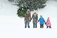 Family With Two Children, Christmas Tree, Holding Hands, Transportation,