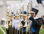 Members of the Lamar Marching Band perform during the Houston ISD Marching Band Festival at Delmar Stadium, October 11, 2016.