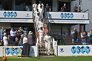 Chris Read leads Nottinghamshire on to the field at the start of day 4 of the during the Specsavers County Champ Div 2 match between Sussex County Cricket Club and Nottinghamshire County Cricket Club at the 1st Central County Ground, Hove, United Kingdom on 28 September 2017. Photo by Simon Trafford.