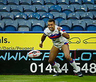 Mason Caton Brown of Wakefield Trinity celebrates scoring the 1st try of the game against Huddersfield Giants during the Ladbrokes Challenge Cup match at the John Smiths Stadium, Huddersfield<br /> Picture by Stephen Gaunt/Focus Images Ltd +447904 833202<br /> 11/05/2018