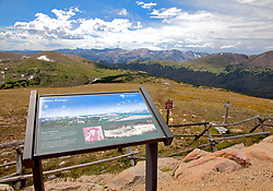 The distant Gore Range is one of many views along Colorado's Trail Ridge Road Scenic Byway as it crosses both the Continental Divide and the width of Rocky Mountain National Park.