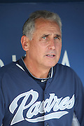 LOS ANGELES, CA - AUGUST 20:  Bud Black #20 of the San Diego Padres talks to the media before the game against the Los Angeles Dodgers at Dodger Stadium on Wednesday, August 20, 2014 in Los Angeles, California. The Padres won the game 4-1. (Photo by Paul Spinelli/MLB Photos via Getty Images) *** Local Caption *** Bud Black