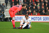 Football - 2017 / 2018 Premier League - AFC Bournemouth vs. Tottenham Hotspur<br /> <br /> Bournemouth's Asmir Begovic checks on Harry Kane of Tottenham after there collision left the spurs striker nursing an injury at Dean Court (Vitality Stadium) Bournemouth <br /> <br /> COLORSPORT/SHAUN BOGGUST