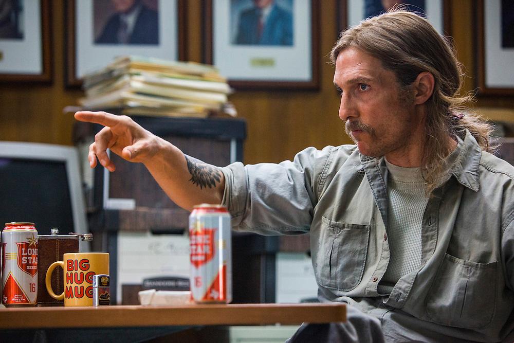 "Matthew McConaughey as Rust Cohle in HBO's ""True Detective"" Season 1."