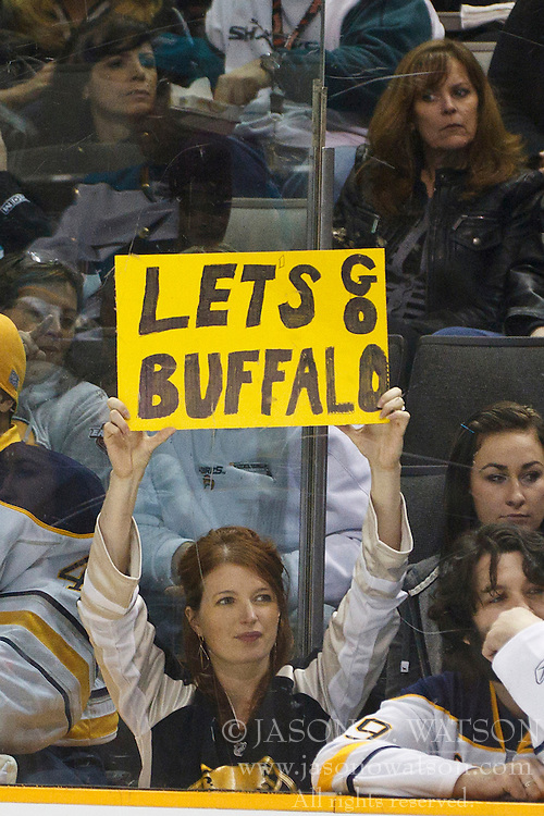 January 6, 2011; San Jose, CA, USA; A Buffalo Sabres fan holds up a sign during the first period against the San Jose Sharks at HP Pavilion. Mandatory Credit: Jason O. Watson / US PRESSWIRE