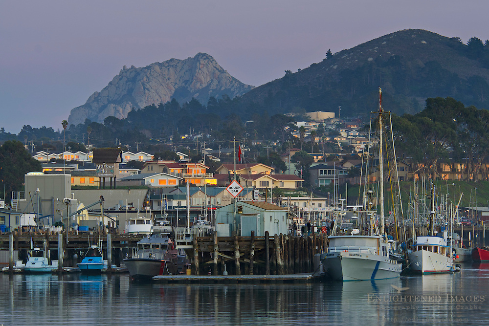 Twilight falls over the waterfront at Morro Bay, California