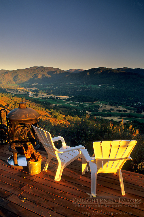 Sunset over vineyards from patio deck, Galante Vineyards, above Carmel Valley, Monterey County, California