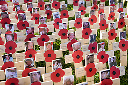 Pictures of soldiers that have died in the Afghanistan conflict on crosses in the Royal Wootton Bassett Field of Remembrance at Lydiard park, Swindon, as it opens to honour and remember those who have been lost serving in the Armed Forces.